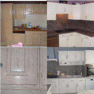 renover une cuisine rustique en moderne patine grise faon ceruse sur fond blanc et changement. Black Bedroom Furniture Sets. Home Design Ideas